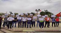 عمال شركة  مزارين إينرجي  في وقفة احتجاجية بالقصبة