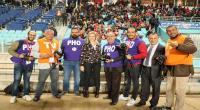 بالصور : وزيرة الرياضة الجديدة تصافح الصحفيين في ملعب رادس